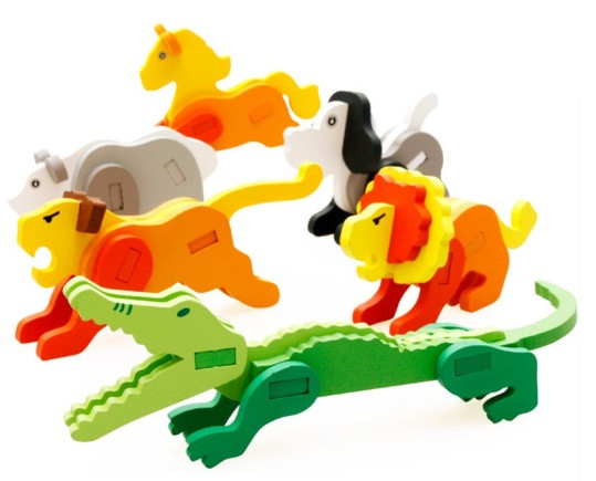 Деревянная игрушка 3D пазл Животные